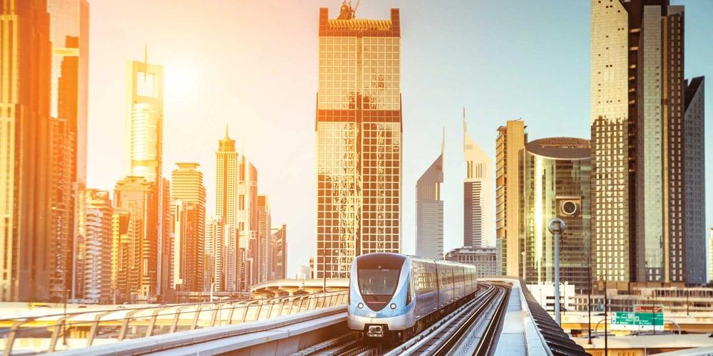 Dubai Metro Train travelling through the city