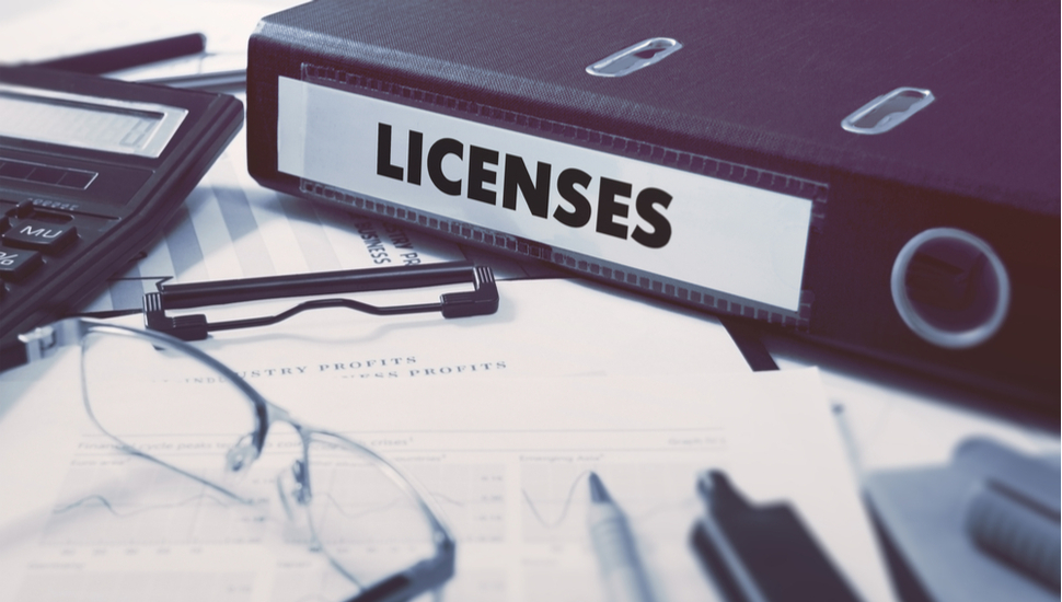 Licenses - Ring Binder on Office Desktop with Office Supplies